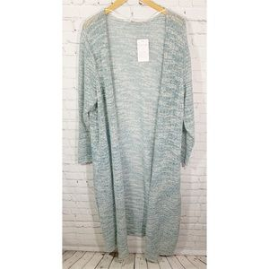 NWT Soft Surroundings Knit Teal/Metallic Duster